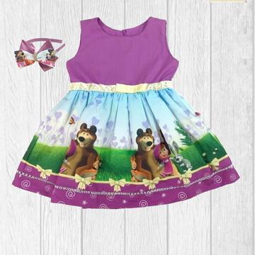 Vestido Masha e o Urso Festa Aniversário Temático + Tiara