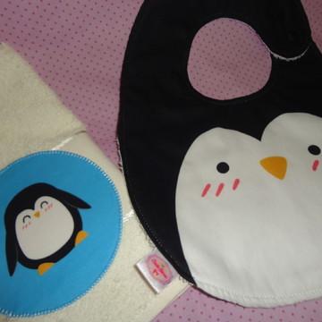 Kit babador Pinguim com toalha de boca