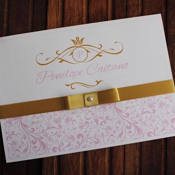 Convite 15 anos - Convite Casamento - rosa dourado