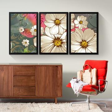 e9c197c6d Quadro Decorativo Moldura Jogo Sala Quarto Mundo das Flores