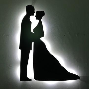 FRETE GRÁTIS - Luminoso Casal Noivos MDF LED Branco Frio