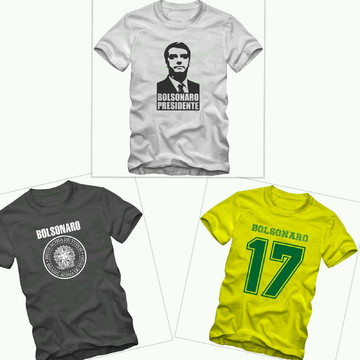 ba9cbaaa4 Kit 3 Camisetas Bolsonaro Presidente + Brinde