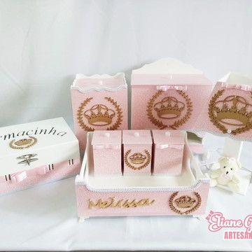 Kit Higiene MDF 8 Peças Princesa Elegante