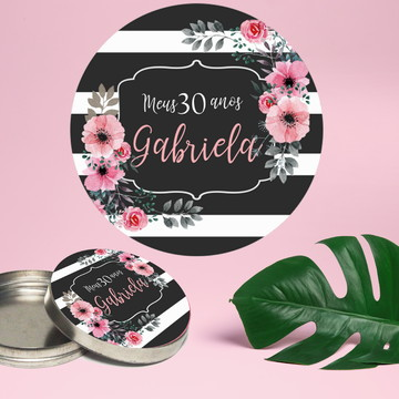 Adesivo para latinha mint to be aniversário floral