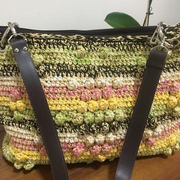 Bolsa de Crochê com alça de material sintético
