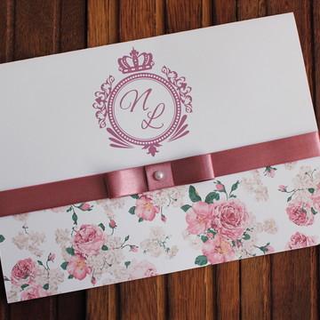 Convite Casamento - Convite 15 anos floral rose