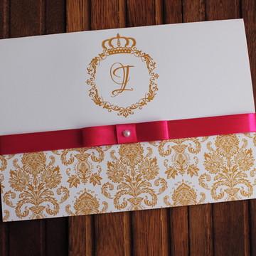Convite 15 anos - Convite Casamento - dourado pink