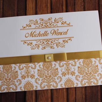 Promoção Convite 15 anos dourado barato - Convite Casamento