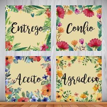 Conjunto de placas Entrego, Confio, Aceito, Agradeço