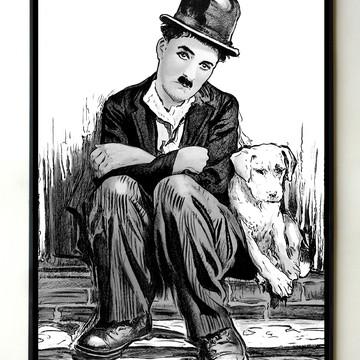 Quadro Charles Chaplin Vida de Cachorro PB