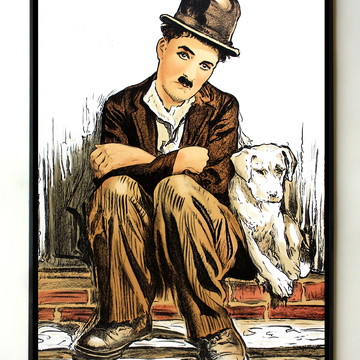 Quadro Charles Chaplin Vida de Cachorro (colorido)