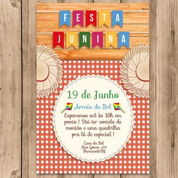 Convite Festa Junina Arraiá Roça Caipira Envie pelo Whatsapp