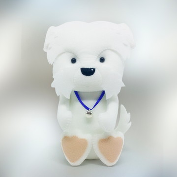 Cachorro Coton de Tulear grande em Feltro