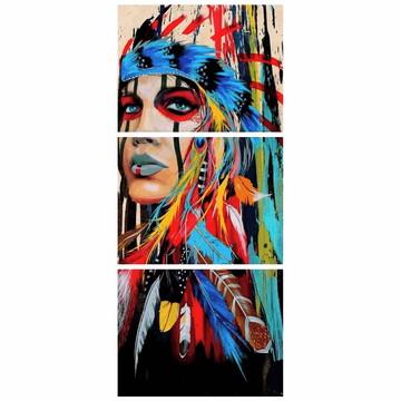 Quadro Decorativo India Americana Indigena 160x65cm (QDID01)