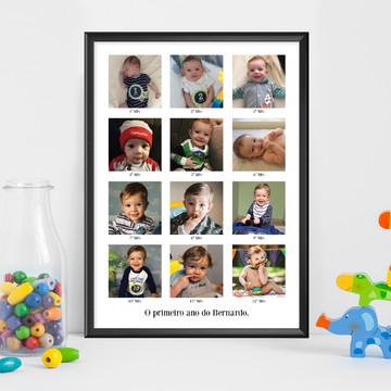 Quadro Personalizado com Fotos - Primeiro Ano do Bebê