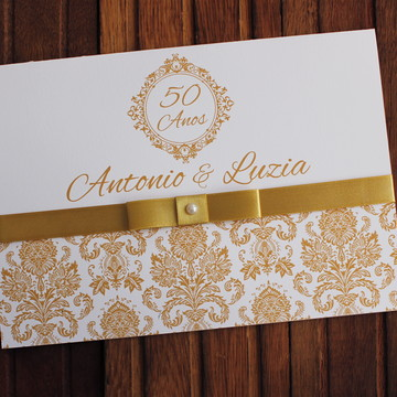 Convite Bodas de Ouro - Casamento dourado barato 50 anos