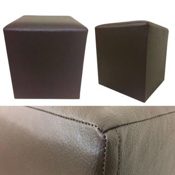 Puff Quadrado Alce Couch Corino Courvin Marrom 45cm