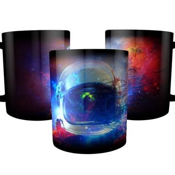 Caneca Preta Astronauta Cosmos Poeira Estelar do Universo