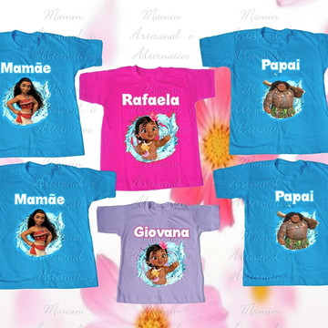 Kit 6 camisetas Divertidas Moana