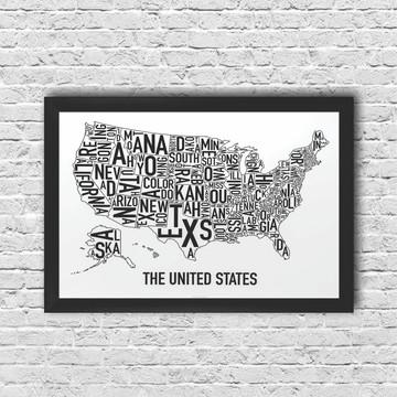Poster Mapa Estados Unidos com moldura