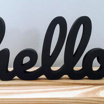 Palavra hello para decoração de ambientes na cor preta