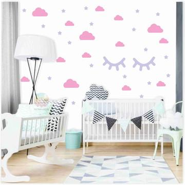 Adesivos nuvens rosa (CL), cílios e estrelas lilás