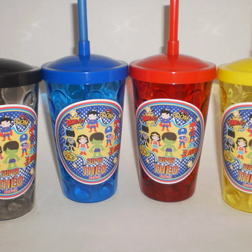 Copo Shake c/ Canudo de 500ml Super Heroes Kids/Cute
