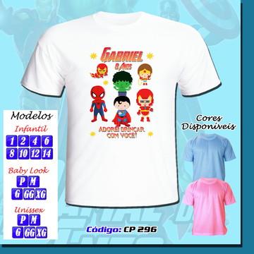 Camiseta Adulto Infantil Personalizada Vingadores