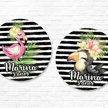 Rótulo Flamingo Tropical Mini Baleiro