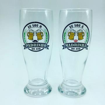 Copo de Cerveja de vidro Padrinhos do Ano Lembrançinha