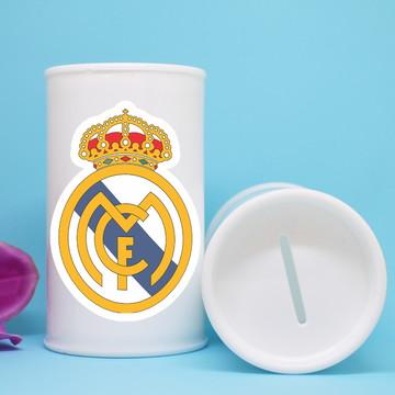 Cofrinho de plástico com adesivo - time futebol Real Madrid