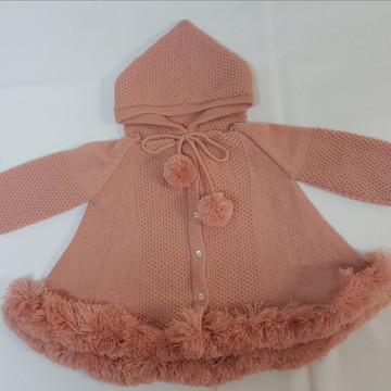 Casaco (trapézio) Para Bebê Nude Com Capuz Tricot