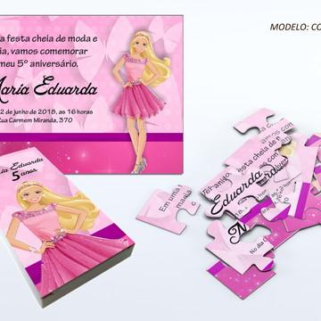 Convite quebra cabeça - Barbie