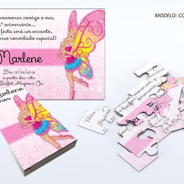Convite quebra cabeça - Barbie Fadas