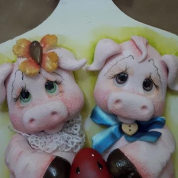 tabua porta chaves decorativa porquinho