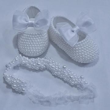 Conj. sapato e faixa perolas branca