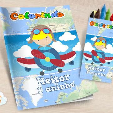 Kit colorir com giz de cera Aviador