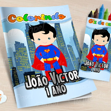 Kit colorir com giz de cera Super Man Cute