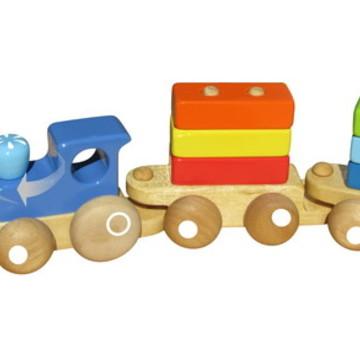 Trenzinho de blocos, brinquedo de madeira