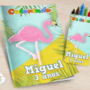 Kit colorir com giz de cera Flamingo