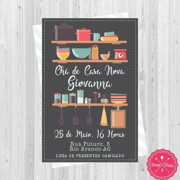 Convite Chá de Panela, Cozinha, Casa Nova