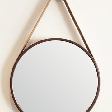 Espelho Adnet 40 cm - Marrom com Alça Caramelo