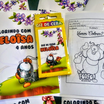Livrinho Revista Para Colorir + Giz De Cera Personalizados