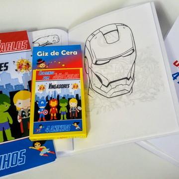 Livrinho Revista Para Colorir Super Heróis + Giz De Cera