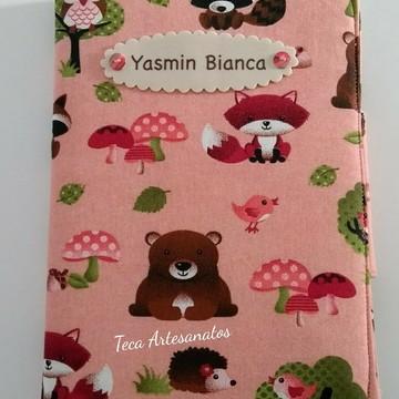 Capa para caderneta de vacinação em tecido - floresta