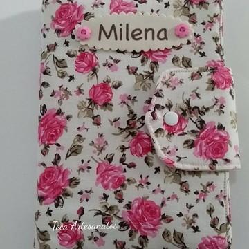 Capa para caderneta de vacinação em tecido - floral rosas