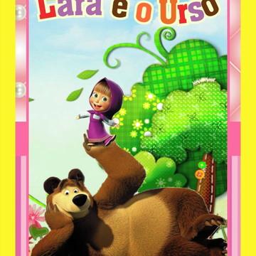 Livrinho Revista Para Colorir + Giz De Cera Masha e o Urso