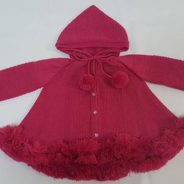 Casaco (trapézio) em Tricot Bebê com Capuz Rosa Pink