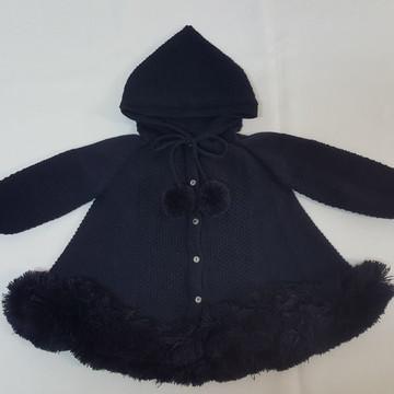Casaco (trapézio) em Tricot Bebê com Capuz Azul Marinho