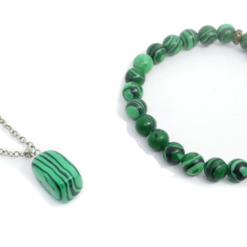 Mix de colar e pulseira Malaquita